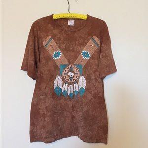 Vintage 90s tie dye Native American tee Medium